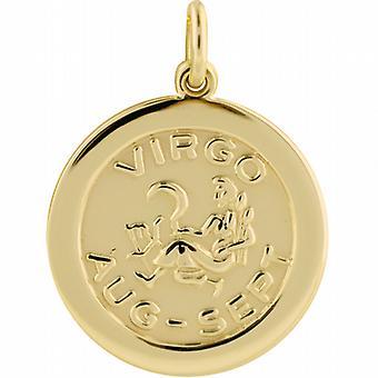 9ct Gold 22mm round Zodiac Disc Pendant Virgo