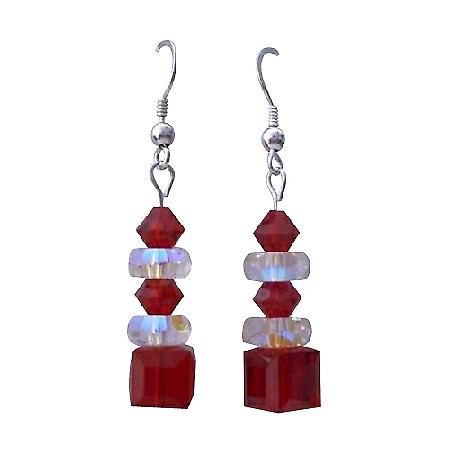Passionate Valentine Siam Red Swarovski Crystal Chandelier Earrings