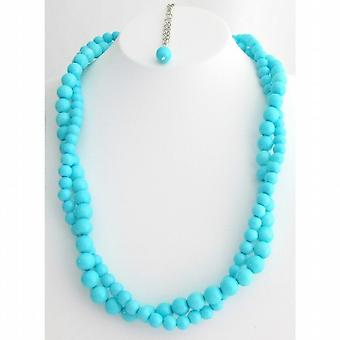 Vintage Style Turquoise Pearls Twisted Necklace Two Strand Necklace