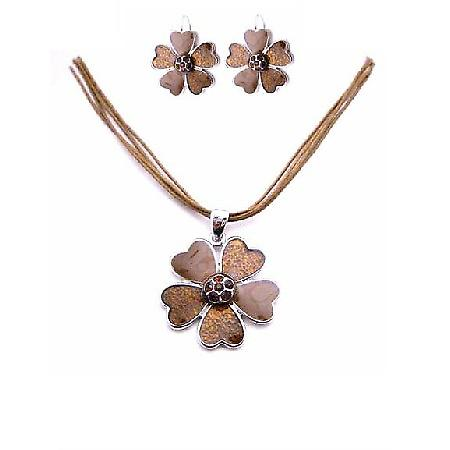 Vintage Ethnic Enamel Brown Flower & Smoked Topaz Crystals Jewelry