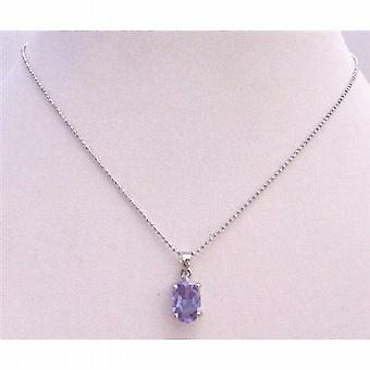 Light Amethyst Cubic Zircon Faceted Pendant Silver Plated Necklace