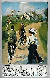 Carlsberg Country Scene (cyclists) embossed steel sign