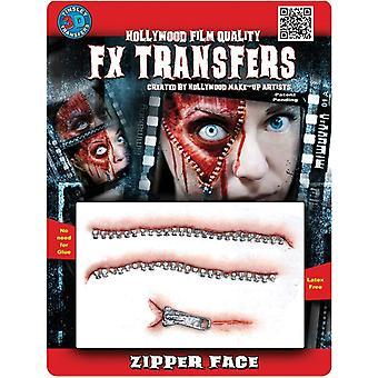 Zipper Face 3D Prof Tattoo