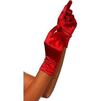 赤のサテン手袋