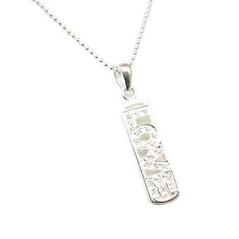 Toc Sterling Silver Cz Rectangular Love Bar Pendant on 16 Inch Chain
