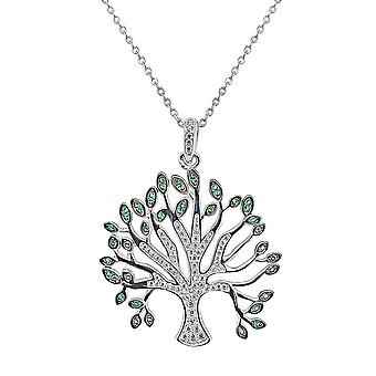 Ah! Jewellery Sterling Silver Tree Of Life Pendant Necklace Clear & Emerald Crystals From Swarovski