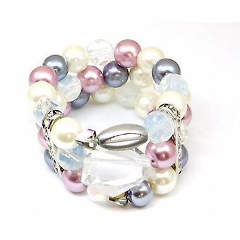 Simulated Pearl Pink  Ivory & Grey Pearl Bracelet with Rhinestones by Park Lane