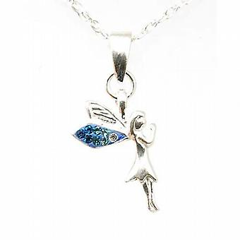 Toc Sterling Silver Blue Fairy Pendant on 18 Inch Chain