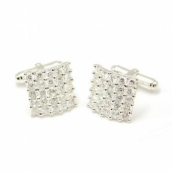 Gents Cufflinks Jakob Strauss Silvertone Base Metal Fancy Rhinestone Cuff Links
