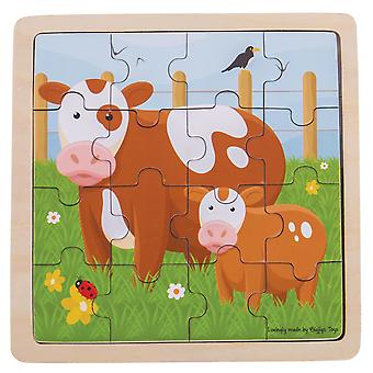 Bigjigs Toys Educational Chunky Wooden Cow & Calf Jigsaw Puzzle Kids Child