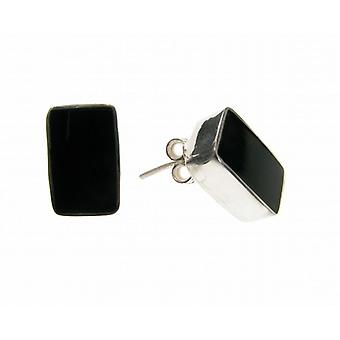 Cavendish French Sterling Silver and Black Agate Oblong Stud Earrings