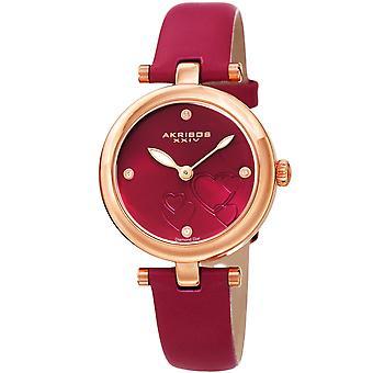 Akribos XXIV AK1044PK Heart Embossed Diamond Marker Leather Strap Watch