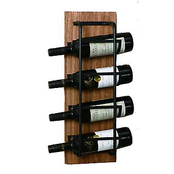 Wine rack Wood/Metal for 6 bottles Brown