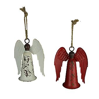 Red and White Vintage Hanging Angel Bells Set of 2