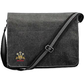 Royal Regiment of Wales Veteran - Licensed British Army Embroidered Vintage Canvas Despatch Messenger Bag
