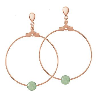 Eternal Collection Stylistic Green Agate Rose Gold Tone Hoop Clip On Earrings
