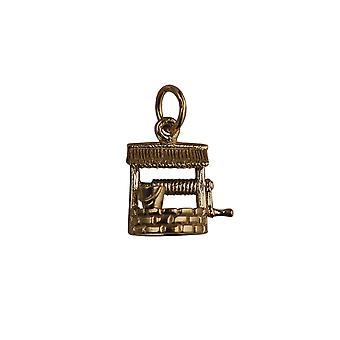 9ct Gold 12x13mm Wishing Well Pendant or Charm