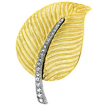 Kenneth Jay Lane Large Satin Gold & Crystal Leaf Brooch Pin