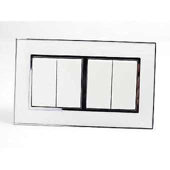 I LumoS AS Luxury White Mirror Glass  Double Frame Rocker Light Switches