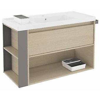 Bath+ 1 Drawer Cabinet + Shelf With Resin Basin Oak-Grey 100cm