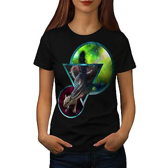 Space Abstract Art Animal Women Black T-shirt | Wellcoda