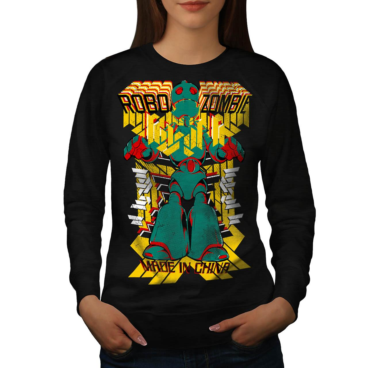 Robot Zombie China Metal Flesh Women Black Sweatshirt | Wellcoda