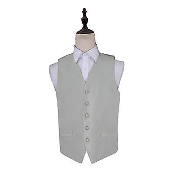Silver Solid Check Wedding Waistcoat