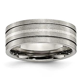 Titanium räfflad Sterling Silver inlaga 8mm borstad Band Ring - storlek 7,5