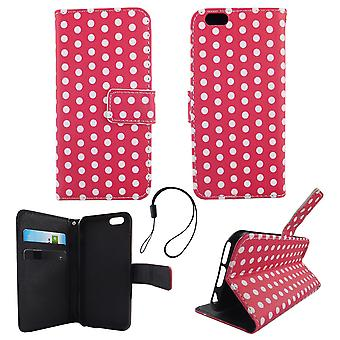 Mobile phone case pouch for phone Apple iPhone 6 / 6 s polka dot Pink White