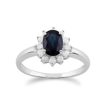 Gemondo 9ct White Gold 1.11ct Blue Sapphire & Diamond Oval Cluster Ring