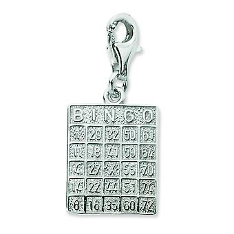 Sterling Silver Bingo Card With Lobster Clasp Charm - 2.3 Grams - Measures 27x12mm