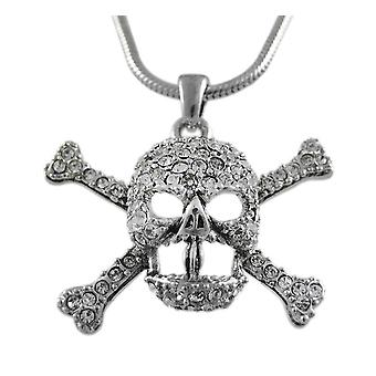Rhinestone Skull & Crossbones Pendant Snake Necklace
