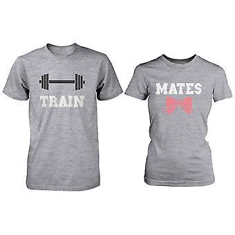 Süßes Paar Workout T-Shirts-Zug Mates übereinstimmenden grauen Hemden für Paare