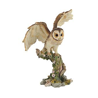 Owl Spreading Wings on Perch Statue