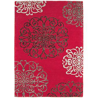 Matrix Red Moroccan Wool  Viscose Rug
