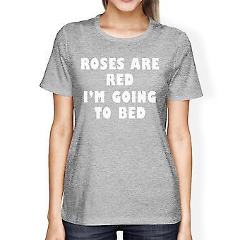 هي الورود الحمراء النسائي هيذر تي شيرت رمادي فكرة هدية لمحبي النوم