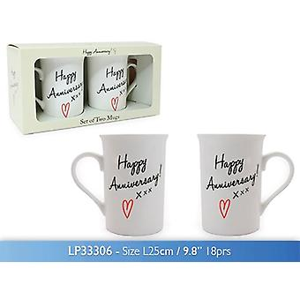 Set of 2 Happy Anniversary Tea Coffee Mugs Gift Boxed Fine China