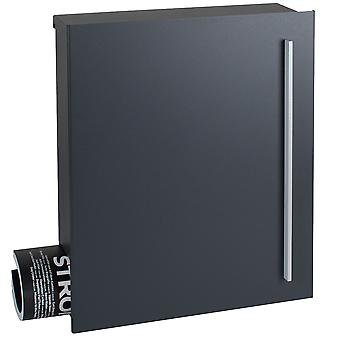 Design mailbox with newspaper box anthracite satin (RAL 7016) MOCAVI box 115 wall letter box 12 litres
