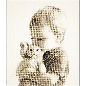 Boy With Kitten On Aida Counted Cross Stitch Kit-6