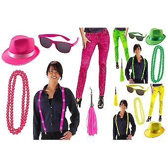 Neon Kostüm Set 3 Farben wählbar Neon Nights Party 7-teilig für Damen