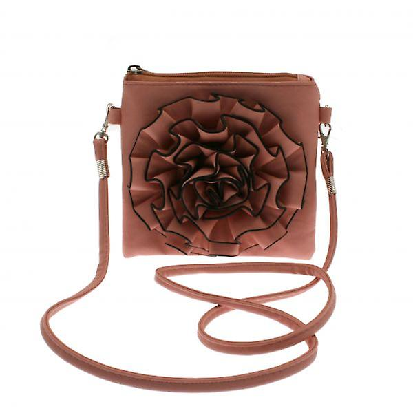 W.A.T Pink Faux Leather Flower Bag