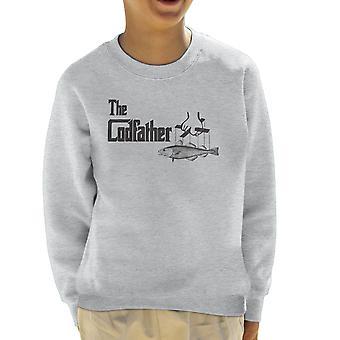 The Codfather Godfather Fishing Logo Kid's Sweatshirt
