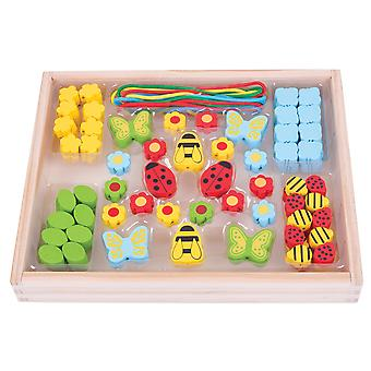 Bigjigs Toys Colourful Wooden Garden Bead Box - Arts and Crafts