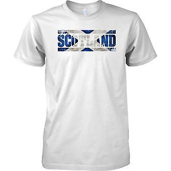 Name Markierungsfahne in Schottland Grunge Effekt - Saltire - T-Shirt für Herren