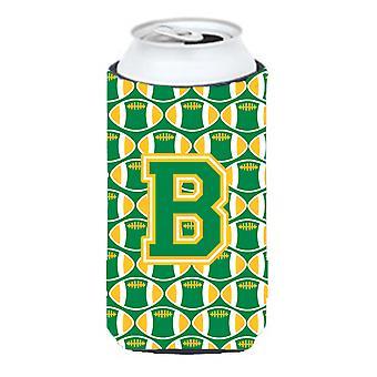 Letter B Football Green and Gold Tall Boy Beverage Insulator Hugger