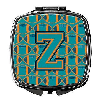 Letter Z Football Aqua, Orange and Marine Blue Compact Mirror