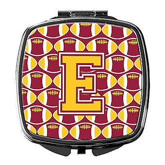 Letter E Football Maroon and Gold Compact Mirror
