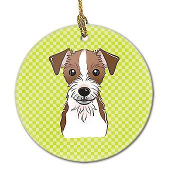 Schachbrett Lime grün Jack-Russell-Terrier keramischen Ornament