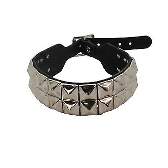 Bullet 69 Black 2 Row Pyramid Stud Leather Choker Neckband