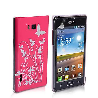 Yousave Accessories LG Optimus L7 Butterfly IMD Hard Case - Hot Pink